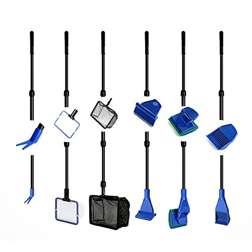 Awtang 6 in 1 Aquarium Cleaning Kit Fish Tank Brush Glass Wiping Extension Long Handle Gravel Rake Aquatic Plants Clip Fishing Net by awtang