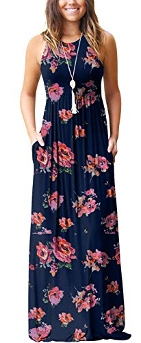 GRECERELLE Women's Sleeveless Racerback Loose Plain Maxi Dress Floral Print Casual Long Dresses with Pockets Pink Navy-XL