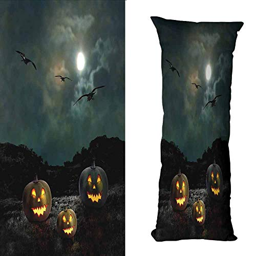 Living Room Sofa Hug Pillowcase Halloween Yard of an Old House at Night Majestic Moon Sky Creepy Dark Evil Face Pumpkins Soft and Breathable W16 xL39 Multicolor]()
