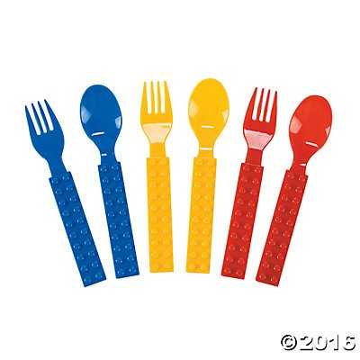 Plastic Color Brick Party Spoon