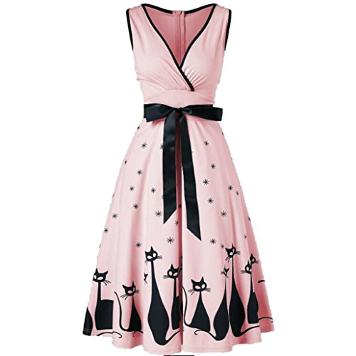 - Manxivoo Retro Cat Print Surplice Dress, Sleeveless Deep V Vintage Tea Dress with Bowknot 50s Style Swing Evening Party Dress (Pink, XXL)
