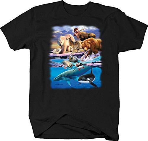 Sea Life Animals Killer Whales Wildlife Grizzley Bear Fish Moose Tshirt - Medium Charcoal
