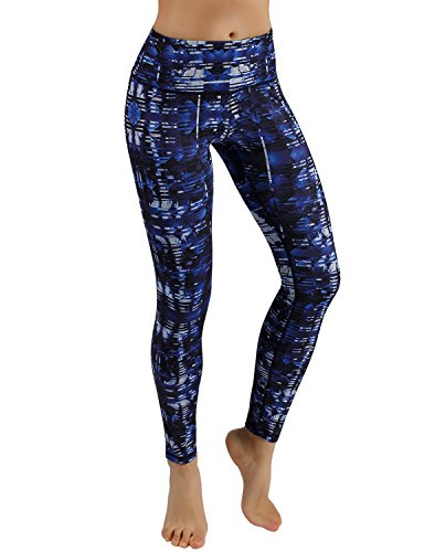 ODODOS Power Flex Women's Tummy Control Workout Running Printed Pants Yoga Pants With Hidden Pocket,Indigo, Large