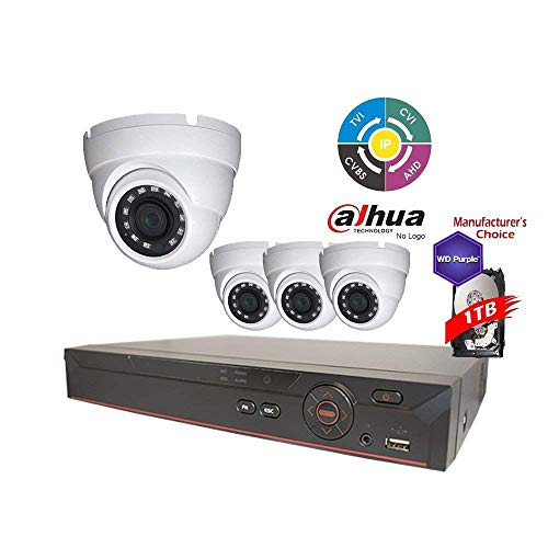 Dahua Penta-brid 1080P Security Package: 4CH 1080P Penta-brid XVR5104 5 in 1 (CVI TVI AHD IP and Analog) w/1TB Security Hard Drive+(4) 2MP Outdoor IR HDW1200 3.6MM Eyeball (NO LOGO OEM Local Support)