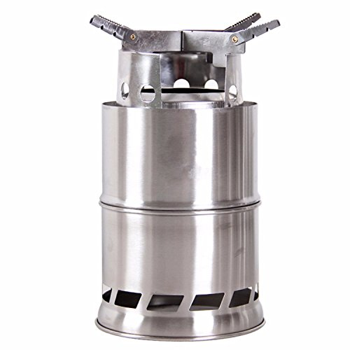 Cheap Wealers New Stainless Steelt Wood Stove or Solidified Alcohol Stove, Foldable Lightweigh, Great for Outdoor Cooking Picnic Barbecue Camping and Survival,