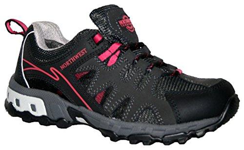 Ladies esperanza totalmente impermeable senderismo/senderismo cordones Trainer Shoe black/fushia