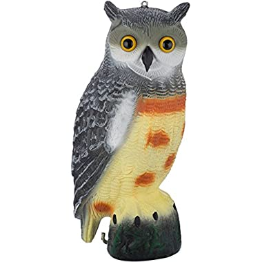 Scarecrow Fake Owl Decoy - Pest Repellent Garden Protector - (Large) (Spotted)