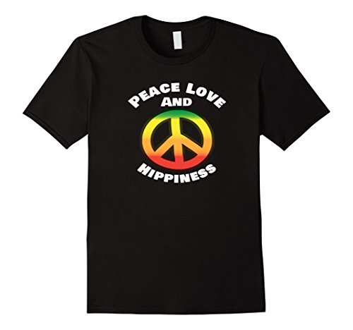[Mens Peace Love And Hippiness 70's Costume Theme Party Shirt 3XL Black] (70s Theme Party Costume)