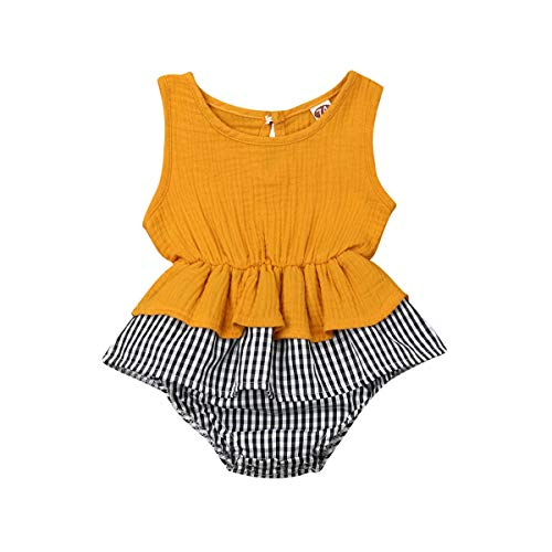 Newborn Infant Baby Girl Romper Bodysuit Sleeveless Ruffle Tutu Dress Plaid Bottom Onesies Summer Outfits Clothes (3-6 Months, Plaid Yellow)