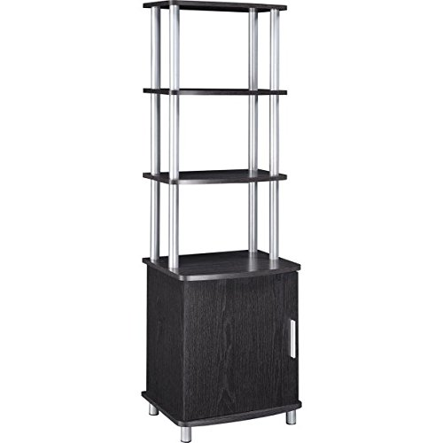 Silver Finish Metal Dvd Tower (Modern Home Audio/Video Stand, Espresso/Silver, Contemporary Style, Open Shelves for AV Components, Storage Cabinet Holds DVDs and Video Games, Chrome Accents)