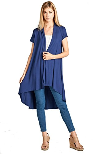 (ReneeC. Women's Extra Soft Natural Bamboo Short Sleeve Cardigan - Made in USA (2X-Large, Navy) )