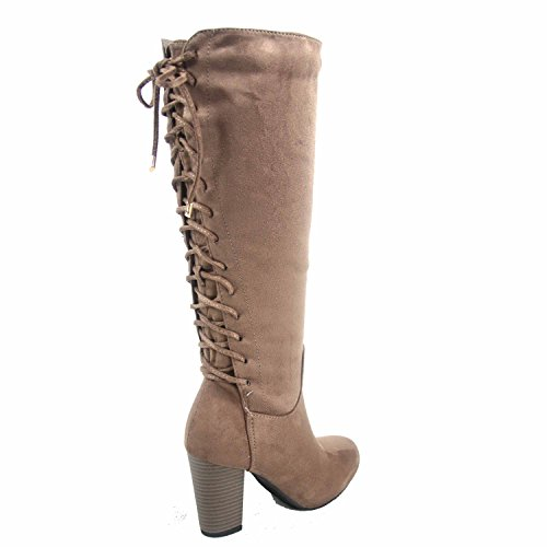 Zipper Women's Boots Heel Sophie Calf Moda Shoes 30 Chunky Up Top Taupe Back Lace Mid tUzqaAB