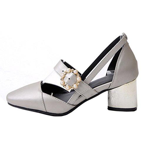 Silver RAZAMAZA Block Closed Pumps Toe Shoes Women Heels w0HOx0q6r