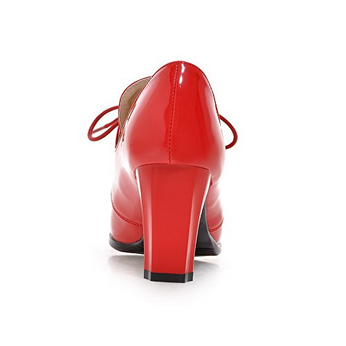 BalaMasa Girls Chunky Heels Bandage Lace-Up Patent Leather Pumps-Shoes Red 61hjkWYiht