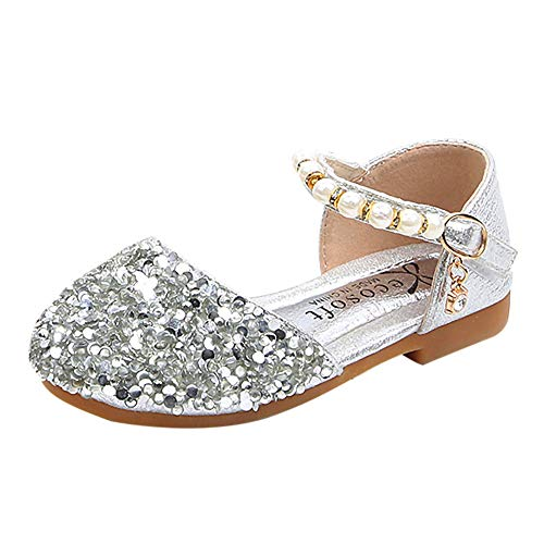 WEUIE Girls Sandals Big Kids' Ballet Flats Sequins Pearl Ankle Strap Princess Party Wedding Dress Shoes - Deerskin Dress