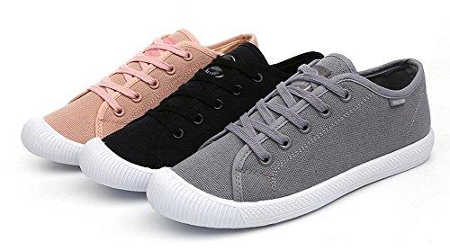 Jiye Mujeres Canvas Lace Up Zapatos Para Caminar Zapatillas De Moda Negro