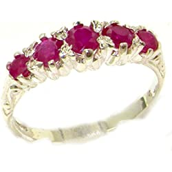 10k White Gold Natural Ruby Womens Band Ring - Sizes 4 to 12 Available