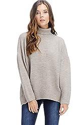 Alexander David Womens Sweater Pullover Turtleneck Top Warm Mock Neck Beige Small