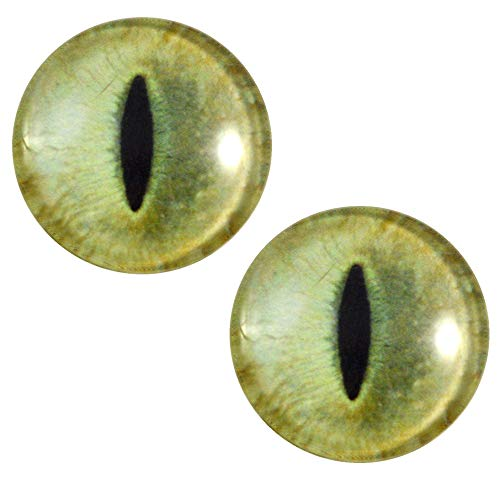 30mm Pale Yellow Cat Glass Eyes Realistic Pair for Art Dolls, Sculptures, Props, Masks, Fursuits, Jewelry Making, Taxidermy, and More