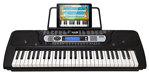 RockJam 54-Key Portable Digital Piano Keyboard with Music Stand and Interactive LCD Screen RJ654