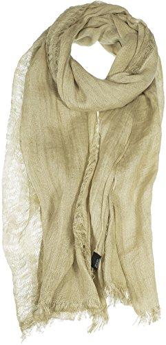 Hand By Hand Aprileo Women's Linen Scarf Wrap Shawl Open Knitted Eyelash Fringe [Khaki.](One (Eyelash Scarf)