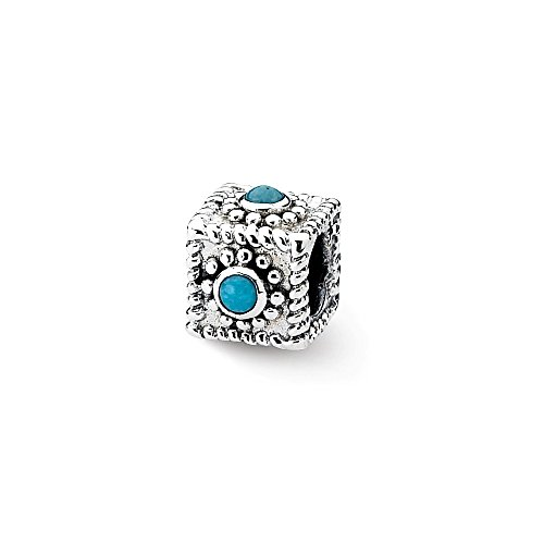 Turquoise Low Cut (Solid 925 Sterling Silver Reflections Square Simulated Turquoise Bead (7.3mm x 10mm))