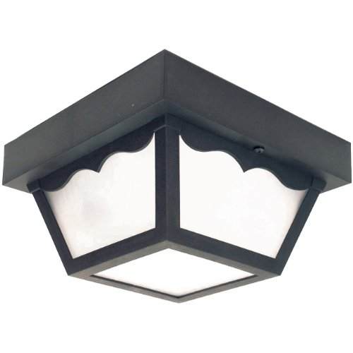 (Sunlite 48236-SU DOD/CC/BK/FR/GU24 Decorative Outdoor Energy Saving Century Collection Polycarbonate Fixture, Black Finish, Frosted Lens)