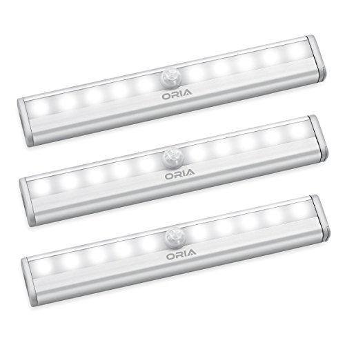 ORIA Motion Sensor Light, 10 LED Sensing Closet Light, Battery Powered Stick Anywhere Stairs Light, Wall Light, Security Safe Light for Bathroom, Cabinet, Wardrobe, Basement, 3 Pack, White