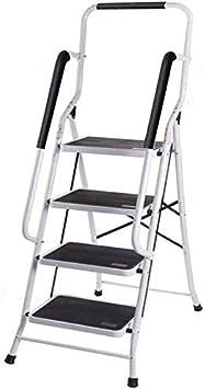 HL-TD Escaleras Extensibles Escalera Plegable 4 Escalera Plegable De Acero, Escalera Plegable Portátil For Trabajo Pesado Antiderrapantes con Pasamanos De Seguridad Heces: Amazon.es: Hogar