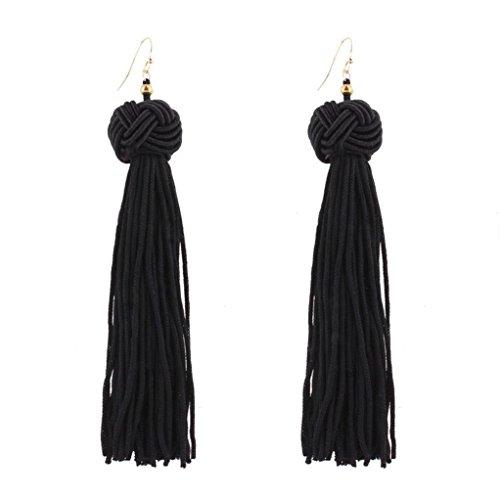 Elogoog Handcraft Gorgeous Long Tassel Drop Dangle Stud Earrings For Wedding Party Dance Jewelry (Black 4) (Rope Drop Earrings)