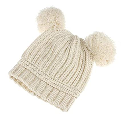 5a0b77c0 Amazon.com: Gbell Warm Winter Knitted Cap Hat Beanies for Baby Girls Boys  Toddler Kids 6-18 Months,Dual Balls Soft Crochet Cap: Clothing