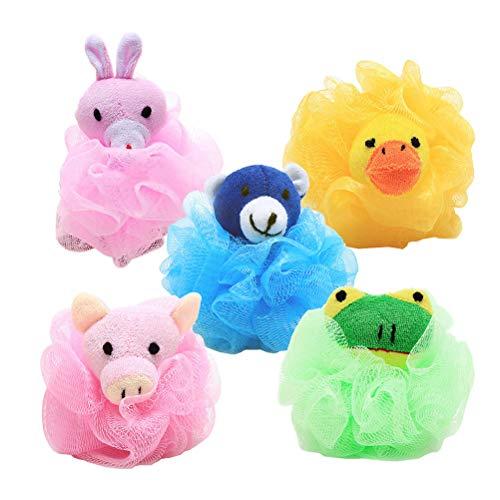 Lurrose 5pcs Bath Balls Cute Cartoon Animal Bath Sponge Mesh Pouf Shower Ball(Random Pattern) (Ball Cartoon Animal)