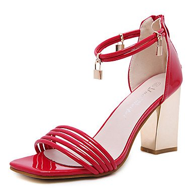LvYuan Mujer-Tacón Robusto-Otro-Sandalias-Vestido-PU-Negro Rosa Rojo Black