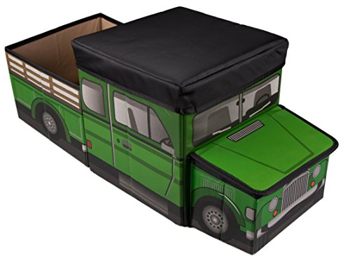 Green Farm Truck Collapsible Toy Storage Organizer with Cushion-Top Roof