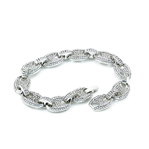 Mens Iced Out Mariner Link Necklace/Bracelet Silver Finish Lab Created Diamonds 12MM (8.5 - 30 inches) (Bracelet 8.5'')
