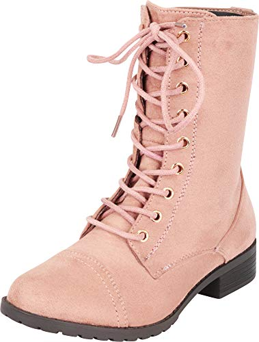 Cambridge Select Women's Classic 90s Lace-Up Chunky Lug Sole Combat Boot,9 B(M) US,Dusty Pink IMSU ()