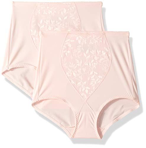 Bali Women's Shapewear Tummy Panel Brief Firm Control 2-Pack, Blushing Pink Jacquard, Small