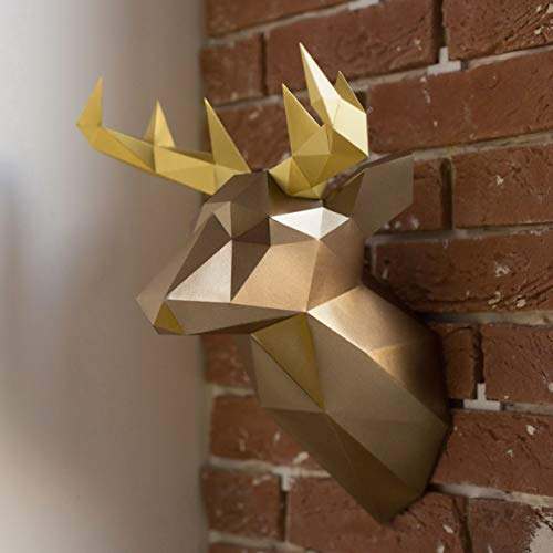 (Live Origami Deer Head Mount Wall Sculptures DIY Kit - Modern Sculpture Faux Animal Heads Santa's Reindeer Decor Fake Stag Unique Wall Hangings - Great for Christmas & Birthday Gifts for Adults Teens)