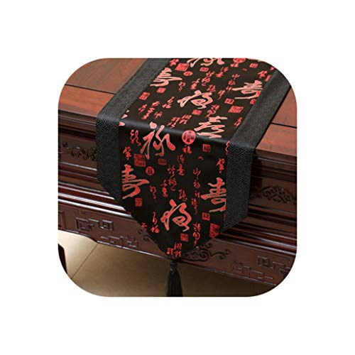 Wenzi-day Satin Table Runner Table Flag Table Cloth Simple Wind Tea Table Runners Bed Flag Home Decoration,33x300cm,02