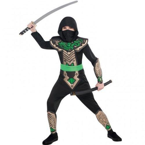 Kids Ninja Costume Uk (Amscan Boys Dragon Slayer Ninja Dressing Up Costume Age 8-10 Years)