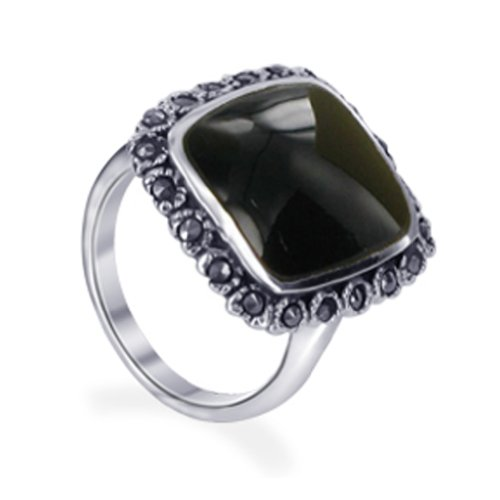 (Gem Avenue 925 Sterling Silver Rectangular Simulated Black Onyx Marcasite Ring Size 6)