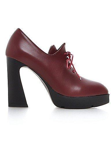 Talon Cn34 Gros Arrondi Eu35 Rouge Chaussures Décontracté Red Similicuir Noir Bout Talons Hug Femme us5 Njx Uk3 A Plateau xw1Sq0Ax