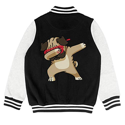 Pug Jacket - ONEYUAN Children Funny Dabbing Pug Dog Kid Baseball Jackets Varsity Bomber Coat for Boys Girls