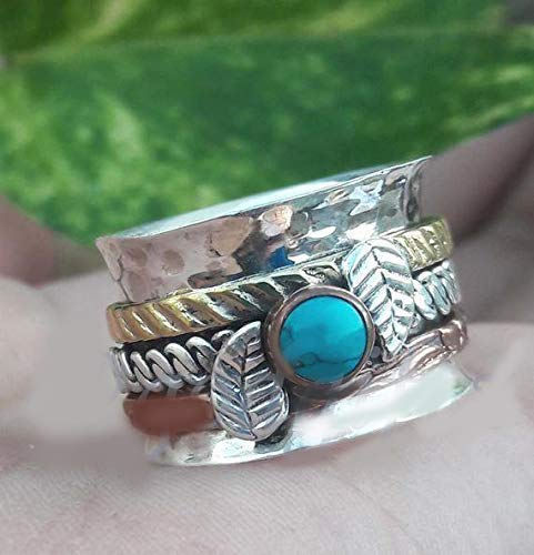 - Silver Spinner Ring Turquoise Gemstone Ring Meditation Ring Leaf Designer Ring Three Band Ring Handmade Ring Hanmade Jewelry Thumb Ring