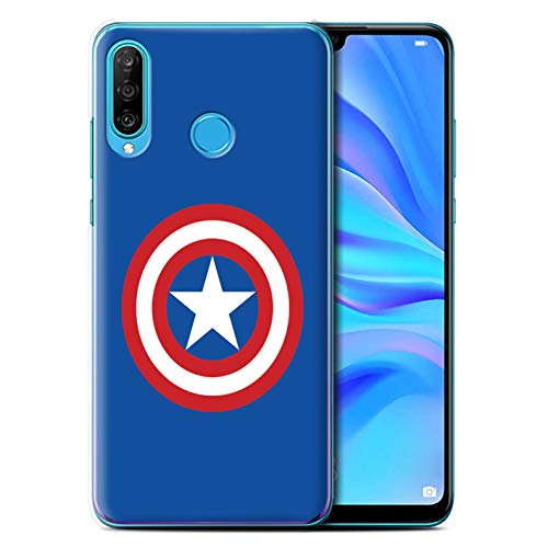 - eSwish Phone Case/Cover for Huawei P30 Lite 2019 / Captain Shield Inspired Design/Super Hero Comic Art Collection