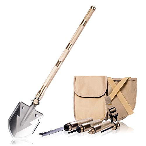 Survival Shovel - BACOENG 17 in 1 Folding Shovel - with Knife and Fire Starter - Perfect for Snow Shovel, Entrenching Tool, Auto Emergency Kit, Survival Axe, Camping Multitool, Tactical, Military, Self-Defense