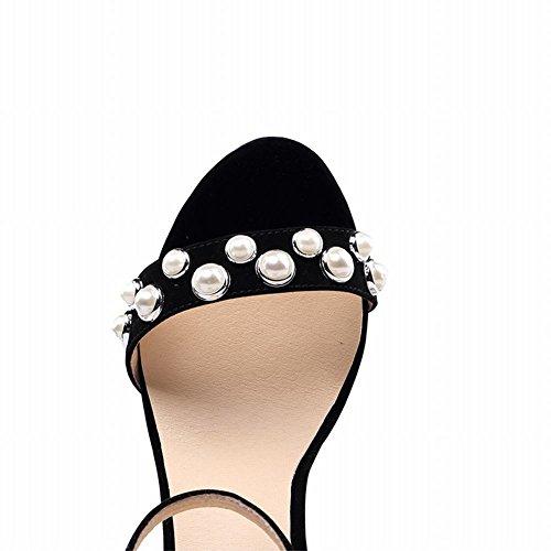 Fashion Sandals Women's Beaded Black High Chic Heel Carolbar Dress Platform wHEd8qwW