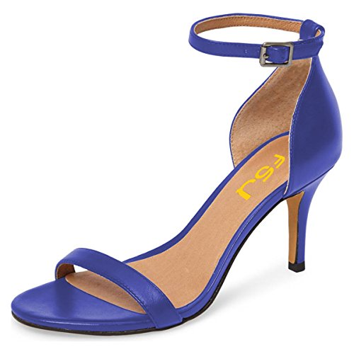 Cocktail Sexy Women Shoes Sandals Size 4 Blue Strap Open Heels 15 Stiletto Comfort FSJ Toe Party Ankle US v4dw5ng4q