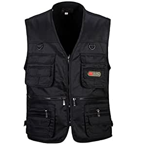 Magideal men 39 s multi pocket zip vest hunting fly fishing for Travel shirts with zipper pockets