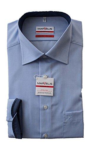MARVELiS Hemd, Hellblau, Modern Fit, Bügelfrei, Kragen ausgeputzt, 100% Baumwolle, Kentkragen
